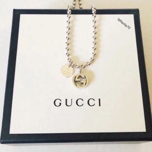 New Authentic Gucci Boule Double GG Tag Necklace